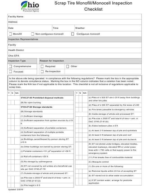 """""""Scrap Tire Monofill/Monocell Inspection Checklist"""" - Ohio Download Pdf"""