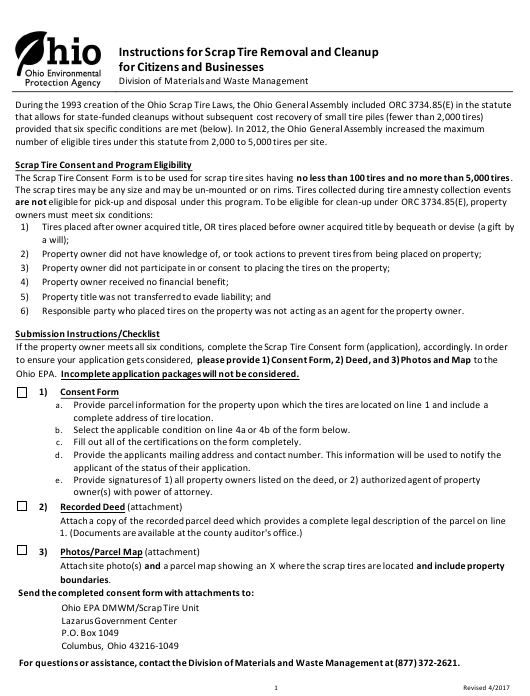 """""""Scrap Tire Removal Certifications and Consent Form for Citizens and Businesses"""" - Ohio Download Pdf"""