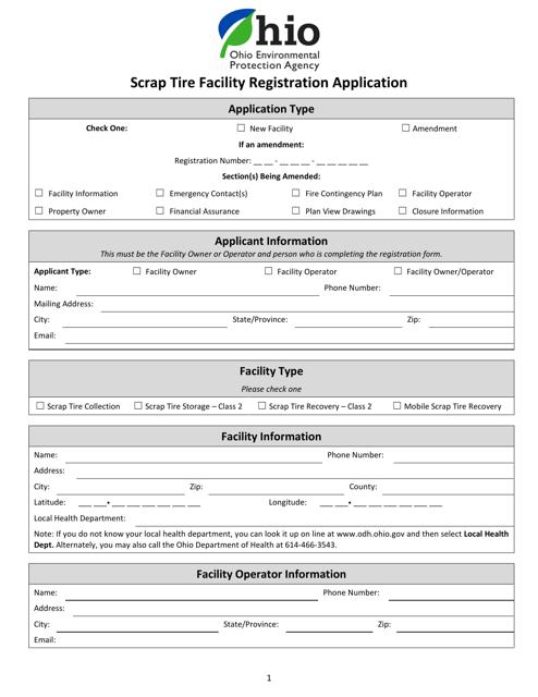 """""""Scrap Tire Facility Registration Application"""" - Ohio Download Pdf"""