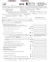 """Form 27 """"Rita Net Profit Tax Return"""" - Ohio, 2018"""