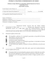 """""""Petition to Open Market to Competitive Retail Natural Gas Service Application Form"""" - Ohio"""