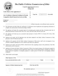 """Retail Natural Gas Service Aggregator/Broker Affidavit Form"" - Ohio"