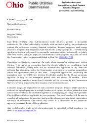 """""""Application to Commit Energy Efficiency/Peak Demand Reduction Programs (Mercantile Customers Only)"""" - Ohio"""