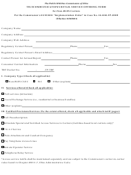 """""""Telecommunications Retail Service Offering Form for Non-bles Carriers"""" - Ohio"""