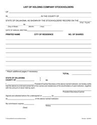 """List of Holding Company Stockholders"" - Oklahoma"
