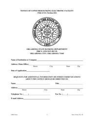 """Notice of Consumer Banking Electronic Facility"" - Oklahoma"