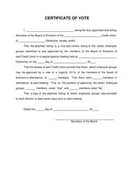 """Certificate of Vote"" - Oklahoma"
