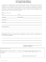 """Application for Approval as a Credit Union Auditor"" - Oklahoma"