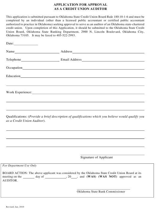 """""""Application for Approval as a Credit Union Auditor"""" - Oklahoma Download Pdf"""