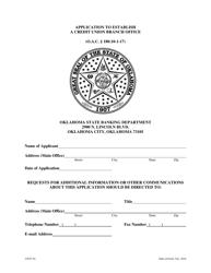 """Application to Establish a Credit Union Branch Office"" - Oklahoma"