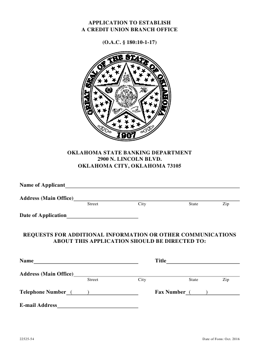 """""""Application to Establish a Credit Union Branch Office"""" - Oklahoma Download Pdf"""