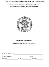 """Application for Certificate of Authority (Conversion From National Banking Association or Oklahoma Chartered Bank Into Stock Association)"" - Oklahoma"