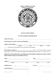"""Money Order License Renewal Report Form"" - Oklahoma"
