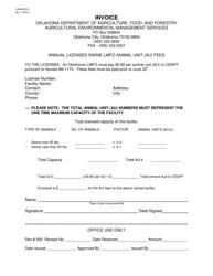 """Form AEMS0018 """"Invoice - Annual Licensed Swine Lmfo Animal Unit (Au) Fees"""" - Oklahoma"""