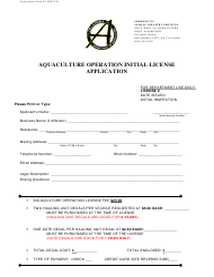 "Form 01-AI ""Aquaculture Operation Initial License Application"" - Oklahoma"