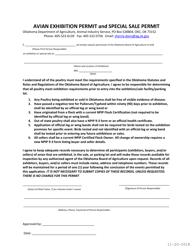 """Avian Exhibition Permit and Special Sale Permit"" - Oklahoma"