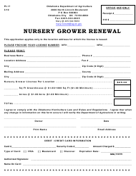 "Form PI-17 ""Nursery Grower Renewal"" - Oklahoma"