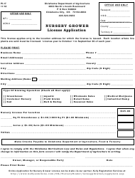 "Form PI-17 ""Nursery Grower Licence Application"" - Oklahoma"