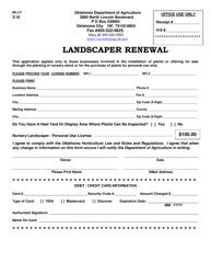 """Form PI-17 """"Landscaper Renewal"""" - Oklahoma"""