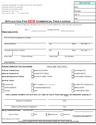 """Form PI-170 """"Application for New Commercial Feed License"""" - Oklahoma"""