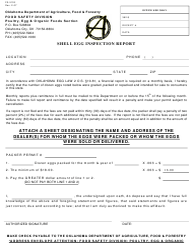 "Form FS-5103 ""Shell Egg Inspection Report Form"" - Oklahoma"