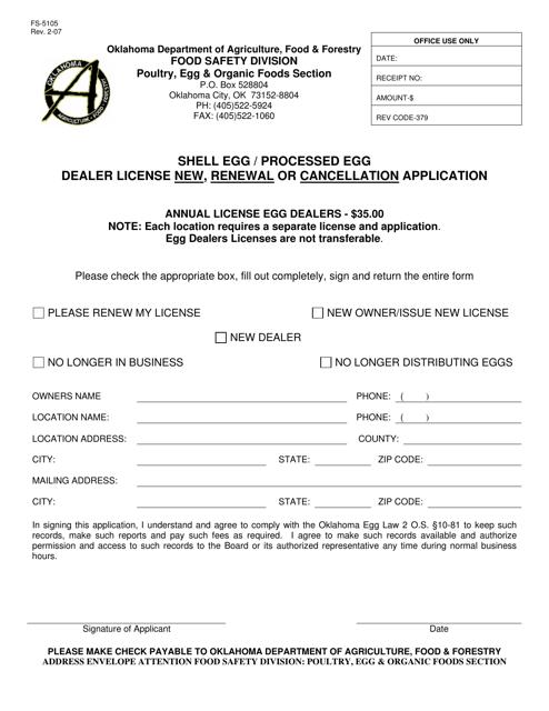 Form FS-5105  Printable Pdf