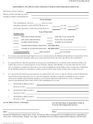 """Form FSD-MIS610A """"Amendment to Application for Meat Inspection Program Services"""" - Oklahoma"""