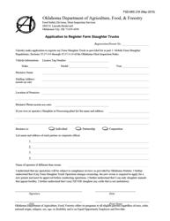 "Form FSD-MIS218 ""Application to Register Farm Slaughter Trucks"" - Oklahoma"