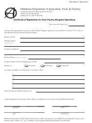 """Form FSD-MIS217 """"Certificate of Registration for Farm Poultry Slaughter Operations"""" - Oklahoma"""