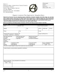 "Form FS-5114 ""Organic Livestock Plan Application: Slaughter/Dairy"" - Oklahoma"