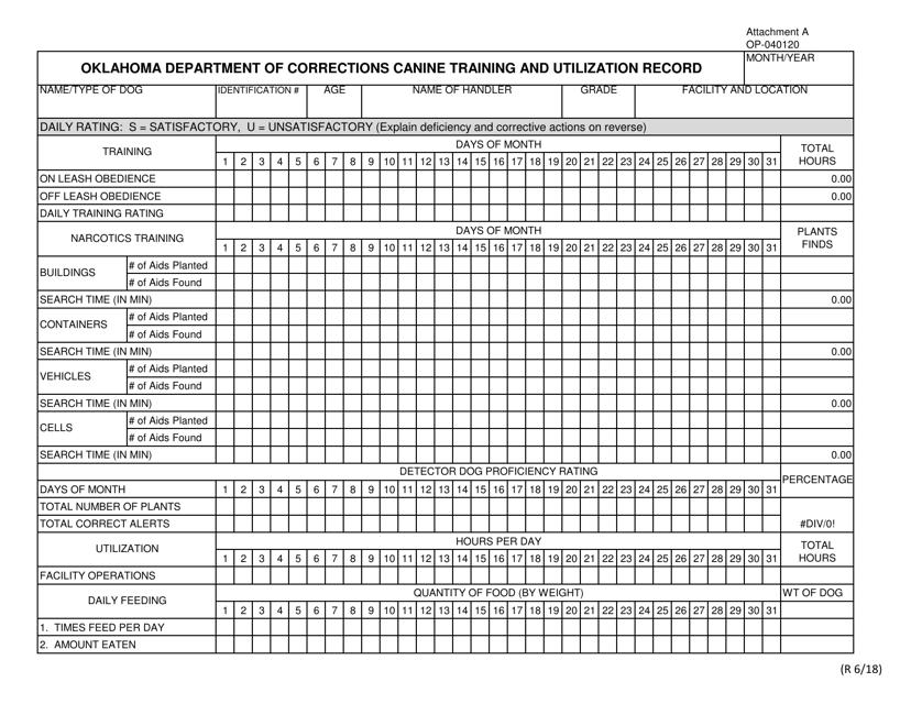 DOC Form OP-040120 Attachment A  Printable Pdf