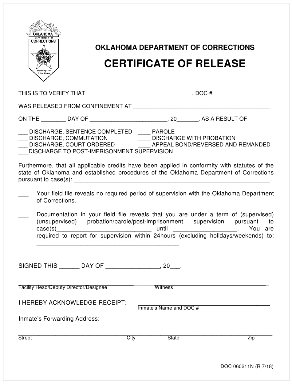 form oklahoma certificate release pdf doc fill printable template templateroller