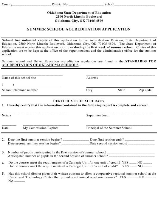 """Summer School Accreditation Application Form"" - Oklahoma Download Pdf"