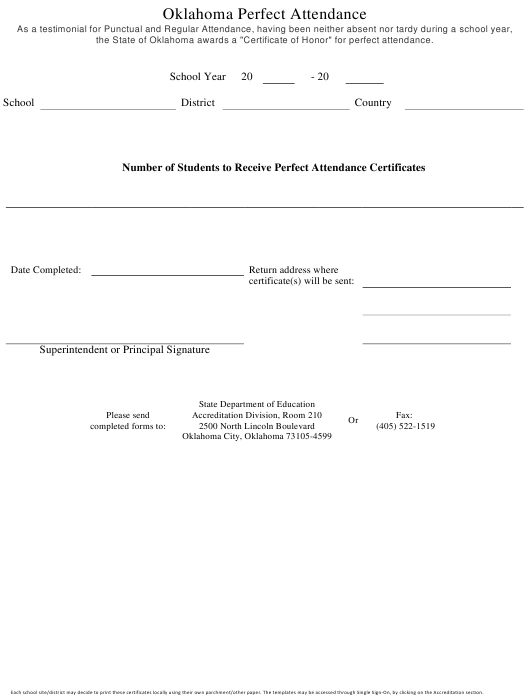 """""""Oklahoma Perfect Attendance Certificate Request Form"""" - Oklahoma Download Pdf"""