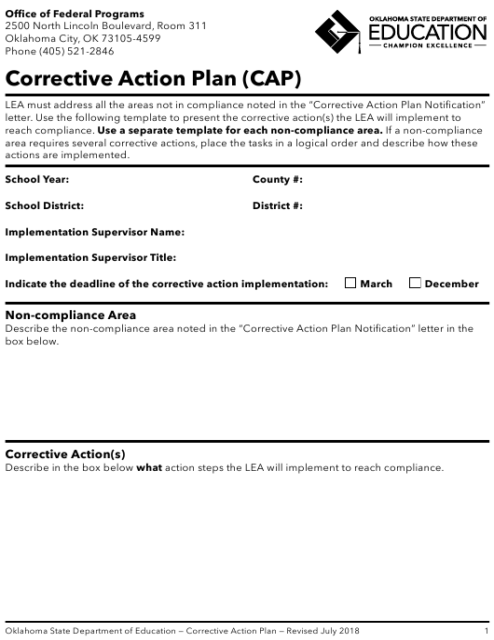 """Corrective Action Plan (CAP)"" - Oklahoma Download Pdf"