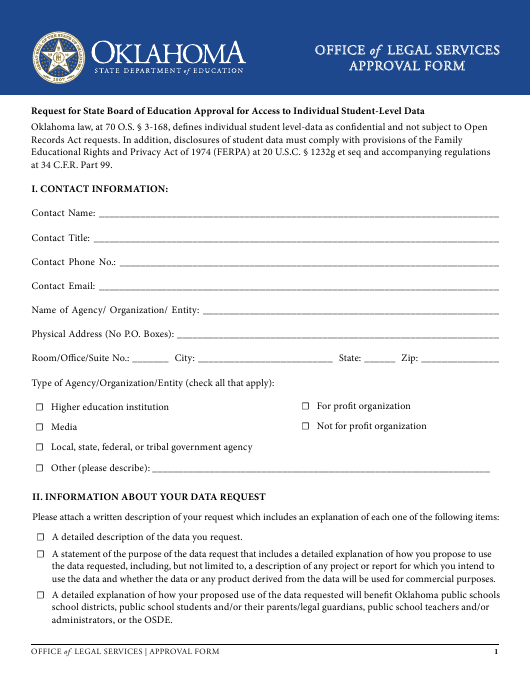 """""""Approval Form"""" - Oklahoma Download Pdf"""