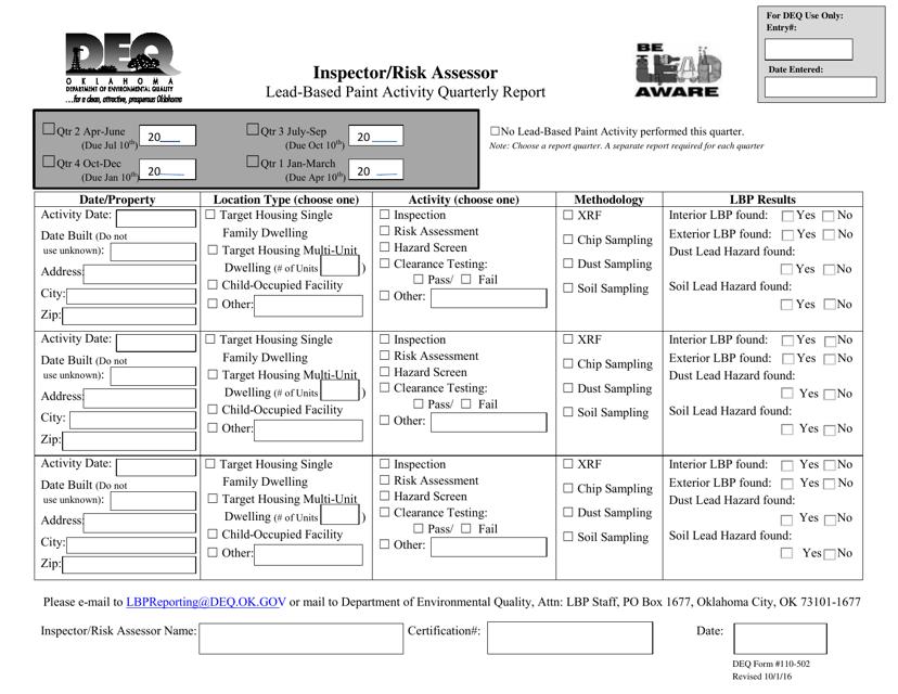 DEQ Form 110-502 2016 Printable Pdf