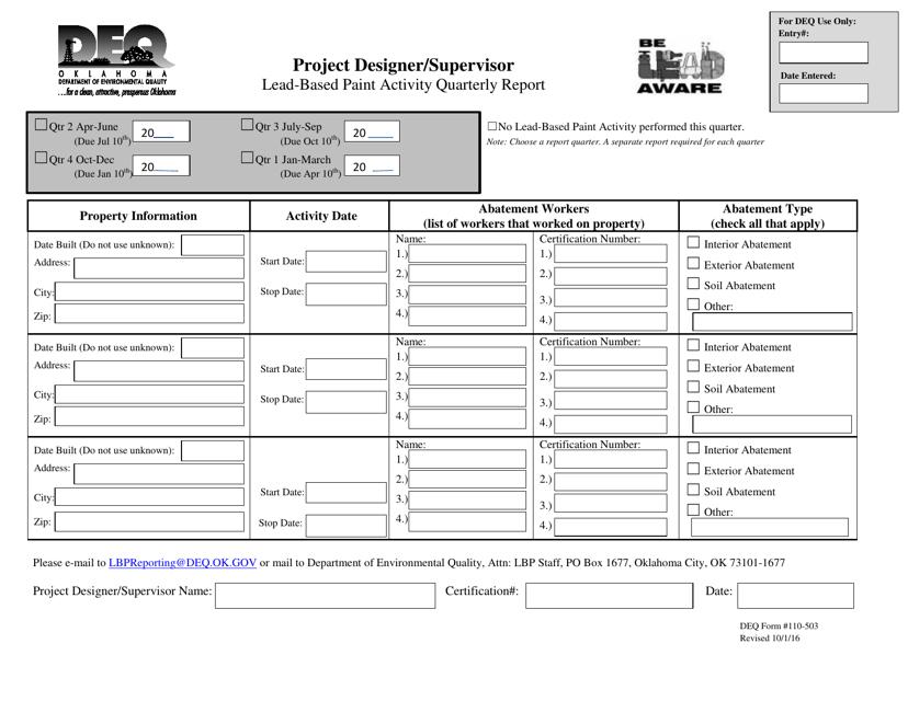 DEQ Form 110-503  Printable Pdf