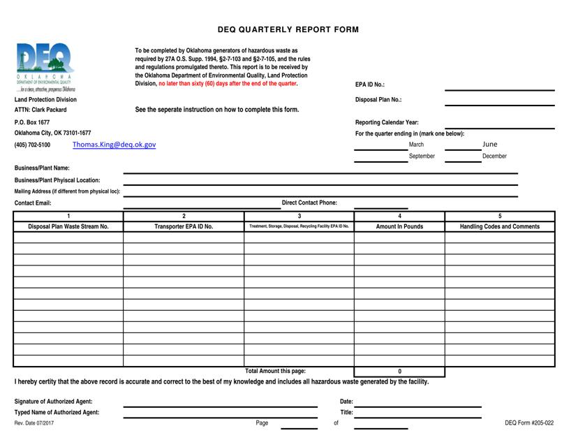 DEQ Form 205-022  Printable Pdf