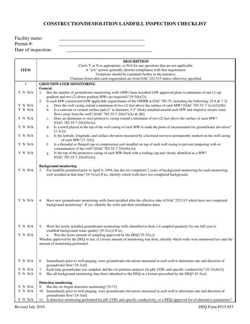 DEQ Form 515-853  Printable Pdf