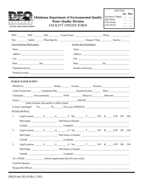 DEQ Form 583-D  Printable Pdf