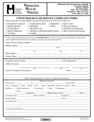 """ODH Form 457A """"Consumer Health Service Complaint Form"""" - Oklahoma"""