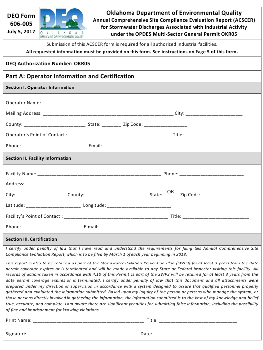 DEQ Form 606-005 Printable Pdf