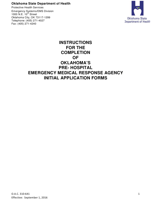 """""""Instructions for the Completion of Oklahoma's Pre-hospital Emergency Medical Response Agency Initial Application Forms"""" - Oklahoma Download Pdf"""