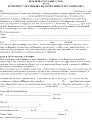 """""""Risk Retention Group Form - Part B - Appointment of Attorney to Accept Service and Designation"""" - Oklahoma"""