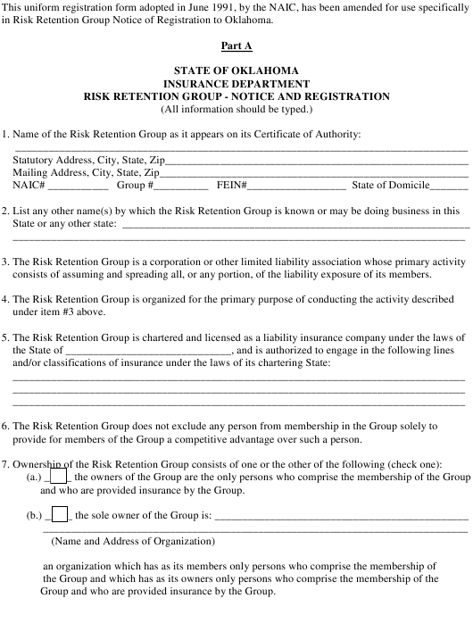 """""""Risk Retention Group Form - Part a - Notice and Registration"""" - Oklahoma Download Pdf"""