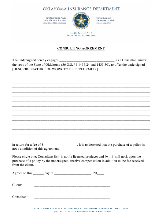 """Consulting Agreement Form"" - Oklahoma Download Pdf"