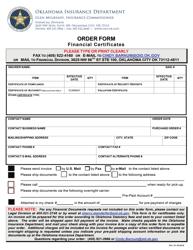 """Order Form - Financial Certificates"" - Oklahoma"
