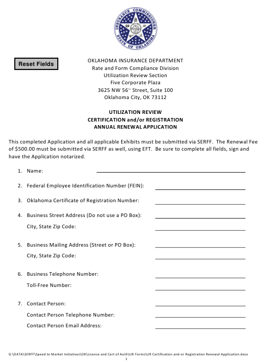 """""""Utilization Review Certification and/Or Registration Annual Renewal Application Form"""" - Oklahoma Download Pdf"""