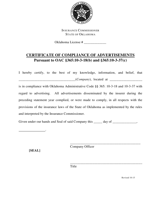 """""""Certificate of Compliance of Advertisements"""" - Oklahoma Download Pdf"""